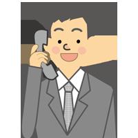 スタッフ電話をとる